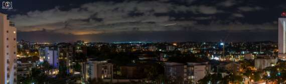 The night Skyline from the Sebel Hotel in South Brisbane, taken by Nikon D5300, and Nikor 18-55mm Lense and stitched into a composite by Lightroom's Panorama function..